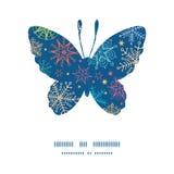 De vector kleurrijke vlinder van krabbelsneeuwvlokken Royalty-vrije Stock Afbeeldingen