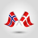 De vector kruiste Noorse en Deense vlaggen op zilveren stokken - symbool van Noorwegen en Denemarken royalty-vrije illustratie