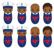 De vector Leuke Afrikaanse Amerikaanse Babys kleedden zich in Zeevaartstijl royalty-vrije illustratie