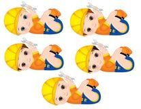De vector Leuke Babyjongens kleedden zo Kleine Bouwers met Moersleutels royalty-vrije illustratie