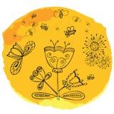De vector leuke bloemen van de krabbelzomer met bij op Stock Illustratie