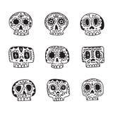 De vector leuke etnische Mexicaanse pictogrammen van suikerschedels Stock Foto's
