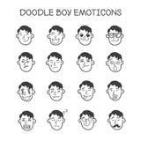 De vector leuke geplaatste hoofden van de krabbeljongen emoticons Royalty-vrije Stock Foto's