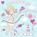 De vector leuke illustraties van de valentijnskaartendag, geplaatste pictogrammen Stock Afbeeldingen