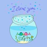 De vector leuke vissen van het krabbelaquarium in liefde royalty-vrije illustratie