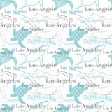 De vector Lichte de Stedendieren van Californië reizen Naadloos Patroon met Los Angeles, San Francisco, Schildpadden, en Walvisse Royalty-vrije Stock Fotografie