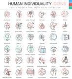 De vector Menselijke persoonlijkheid en mentaliteits ultra moderne kleur schetst lijnpictogrammen voor apps en Webontwerp vector illustratie
