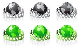 De vector mensen hebben de aarde omringd stock illustratie
