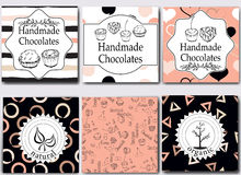 De vector met de hand gemaakte chocolade die malplaatjes en ontwerpelementen voor suikergoed verpakken winkelt - karton met emble Stock Fotografie