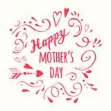 De vector met de hand geschreven romantische Gelukkige de kalligrafie diagonale banner van de Moeder` s Dag verfraaide bloemen ro stock illustratie