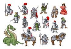 De vector met getrokken hand wordt geplaatst isoleerde gekleurde krabbels op het thema van koninkrijk dat stock afbeeldingen