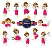 De vector met mooi weinig leuke die meisjeshand wordt geplaatst in divers wordt getrokken stelt en situaties die Het charmeren va vector illustratie