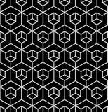 De vector moderne naadloze illusie van het meetkundepatroon, zwart-witte samenvatting royalty-vrije illustratie