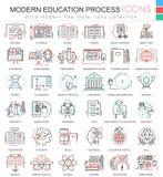 De vector Moderne pictogrammen van het de rassenbarrièreoverzicht van het onderwijse leerproces voor apps en Webontwerp Modern on vector illustratie