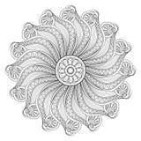 De vector Mooie Zwart-wit Contour Mandal van Deco vector illustratie