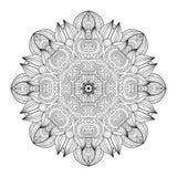 De vector Mooie Zwart-wit Contour Mandala van Deco stock illustratie