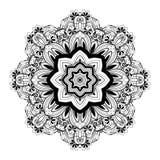 De vector Mooie Zwart-wit Contour Mandala van Deco Stock Fotografie