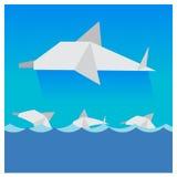 De vector multicolored golven van de dolfijnen Mooie blauwe hemel Stock Fotografie