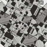 De vector naadloze abstracte geometrische zwarte, witte kleuren van de patroonpastelkleur Royalty-vrije Stock Afbeelding