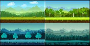 De vector naadloze die achtergronden van het landschapsbeeldverhaal voor spel worden geplaatst stock illustratie