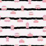De vector naadloze elementen van Carnaval van de strepenpastelkleur roze herhalen patroon royalty-vrije illustratie