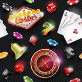 De vector naadloze illustratie van het casinopatroon met het gokken elementen op donkere gestreepte achtergrond Royalty-vrije Stock Afbeeldingen