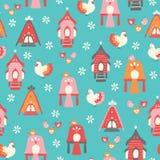 De vector naadloze kippen en de huizen herhalen patroon vector illustratie