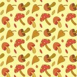 De vector naadloze paddestoel verlaat patroon Het bladachtergrond van de herfst Heldere gele, oranje, rode, gouden kleuren van de royalty-vrije illustratie