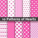 De vector naadloze patronen van de hartvorm (het betegelen) Royalty-vrije Stock Foto's