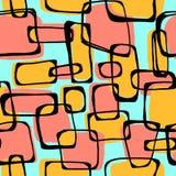 De vector naadloze Pop-artjaren '60 inkten getrokken patroon Geschilderde hand exp Stock Afbeeldingen