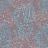 De vector naadloze textuur met gekrulde abstracte elementen gaat weg en bloeit Royalty-vrije Stock Fotografie