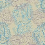 De vector naadloze textuur met gekrulde abstracte elementen gaat weg en bloeit Stock Afbeeldingen