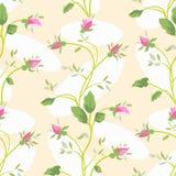 De vector Naadloze uitstekende bloem nam patroon toe stock illustratie