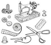 De vector naaiende uitrusting van de inkthand getrokken stijl Royalty-vrije Stock Afbeeldingen