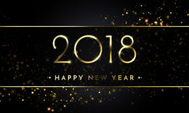 De vector 2018 Nieuwjaar Zwarte achtergrond met goud schittert confettien ploetert textuur Royalty-vrije Stock Afbeelding