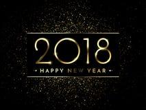 De vector 2018 Nieuwjaar Zwarte achtergrond met goud schittert confettien ploetert textuur Stock Afbeelding
