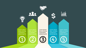 De vector op pijlen vordert de grafiek van het infographic, prestatiesdiagram, de presentatie van de succesgrafiek Opstarten van  Stock Afbeeldingen