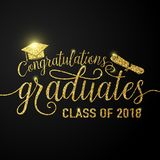 De vector op zwarte graduatiesgelukwensen als achtergrond behaalt de klasse van 2018 een diploma Royalty-vrije Stock Foto's