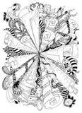 De vector oude rollen van de illustratie zentangle abstractie Krabbelpatronen, bloemen Het kleuren boek antispanning voor Stock Afbeelding