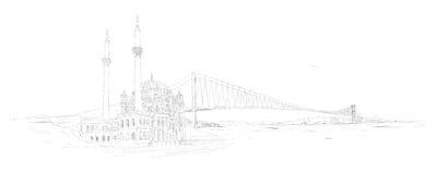 De vector panoramische ortakoy moskee van Istanboel Stock Illustratie