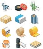 De vector pictogrammen van de bouwproducten. Deel 2. Isolatie Royalty-vrije Stock Foto's