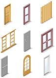 De vector pictogrammen van de bouwproducten. Deel 3. Deuren Stock Afbeeldingen