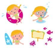 De vector pictogrammen van de inzamelingszomer, zwemmende jonge geitjes Stock Afbeelding