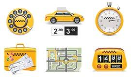 De vector pictogrammen van de taxidienst. Deel 1 Stock Afbeelding
