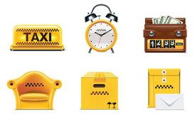 De vector pictogrammen van de taxidienst. Deel 2 Stock Afbeeldingen