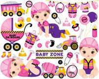De vector plaatste met Leuk Weinig Baby Meisjes Geklede zo Kleine Bouwers en Bouwvervoer vector illustratie