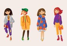 De vector plaatste met mooie hand getrokken meisjes in vrijetijdskleding en overmaatse sweaters en cardigans, vriendjeans en tenn Royalty-vrije Stock Foto's