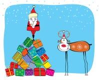 De vector prentbriefkaar van Kerstmis. Vector Illustratie