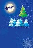 De vector prentbriefkaar van Kerstmis op blauw Royalty-vrije Illustratie