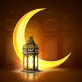 De vector ramadan realistische maan van de kareemlantaarn royalty-vrije illustratie